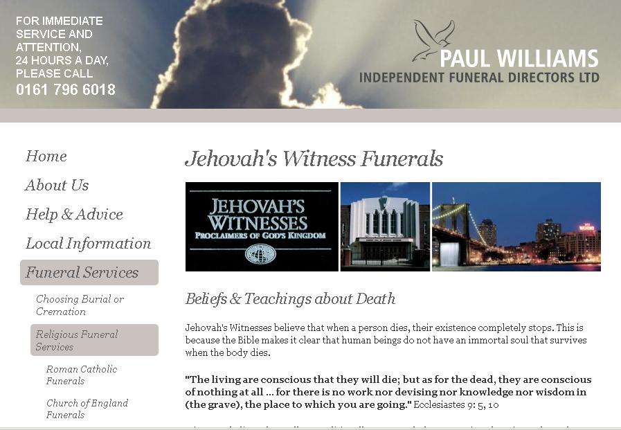 Цвинтарі та будинки для Свідків Єгови похилого віку