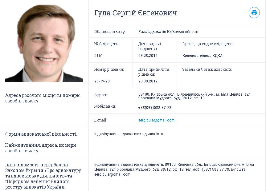 Гула Сергій Євгенович, адвокат з Білої Церкви