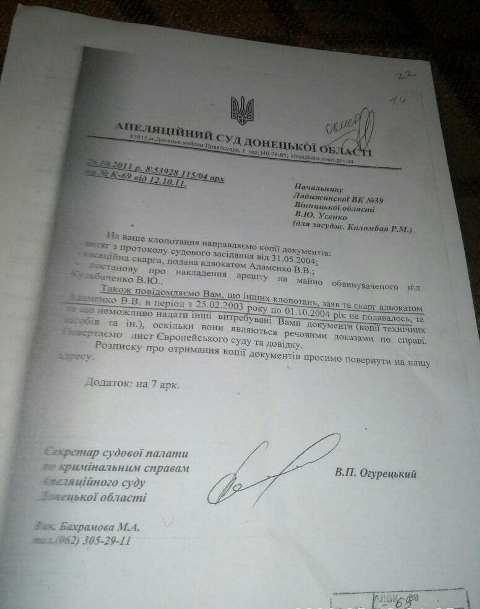 Ответ из суда: назначенный адвокат не подавал никаких обращений, жалоб и других документов