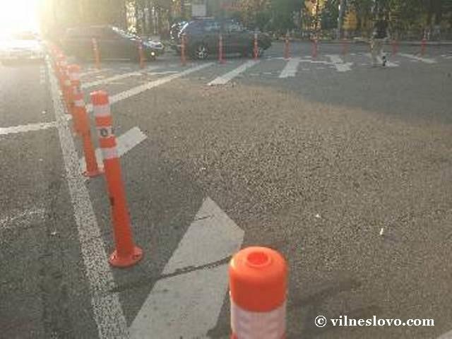 Движение пешеходов делинеаторы