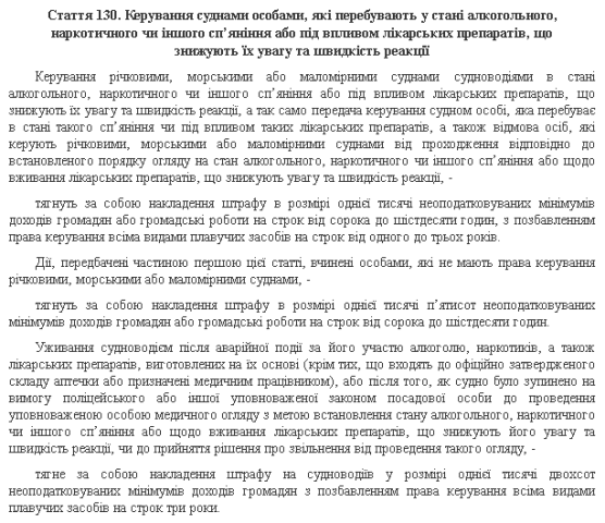 Стаття 130 КУпАП